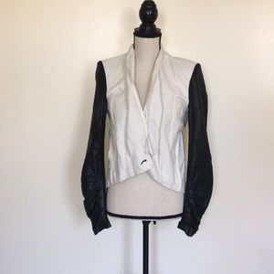 Helmut Lang white blazer with leather sleeves